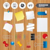 Office business stickers, pin, clip. — Stock Vector