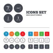 Scissors icons. Hairdresser or barbershop symbol — Stock Vector