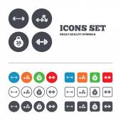 Dumbbells icons. Fitness sport symbols. — Stock Vector