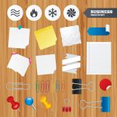 Office business stickers, pin, clip — Stock Vector