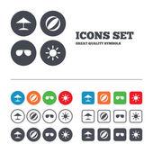 Pláž dovolená ikony. — Stock vektor