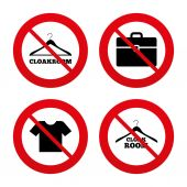 Cloakroom signs. Hanger wardrobe icons. — Stock Vector