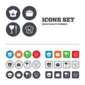 Chief hat and cooking pan icons. — Stock Vector