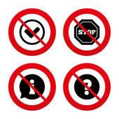 Information icons. Stop prohibition symbol. — Stock Vector
