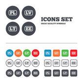 PL, LV, LT and EE translation. — Stock Vector