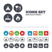 Food, sleep, tent and fire signs. — Stock Vector