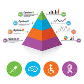 Medicine icons. Syringe, disabled, brain. — Stock Vector