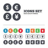иконка доллар, евро, фунта и иены. — Cтоковый вектор