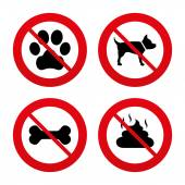 Dog paw and feces signs. — Stock Vector