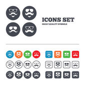 Mustache and Glasses icons. — Stock Vector