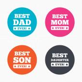 Best mom and dad, son, daughter — Stock Vector