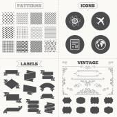 Flygplan ikoner. världen världen symbol. — Stockvektor