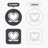 Heart ribbon sign icons — Stock Vector