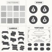 Money bag icons. — Stock Vector