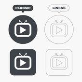 Retro TV mode sign icons — Stock Vector