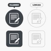 Edit document sign icons — Stock Vector