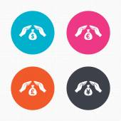 Hands insurance icons. — Stock Vector