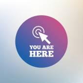 Te encuentras en el icono de signo. — Vector de stock
