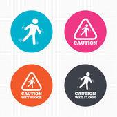 Caution wet floor icons. — Stock Vector