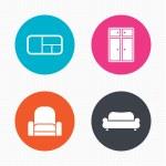 Furniture icons. Sofa, cupboard — Stock Vector #77334114