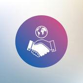 World handshake sign icon. — Stock Vector