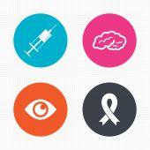 Medicine icons. Syringe, eye, brain — Stock Vector