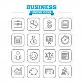 Бизнес линейной иконы set. — Cтоковый вектор
