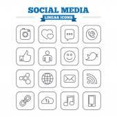 Social media linear icons — Stock Vector