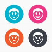 Human smile face icons. — Stock Vector