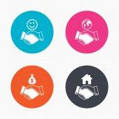 Handshake icons. World, Smile — Stock Vector