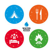Food, sleep, camping tent and fire — Stock Vector
