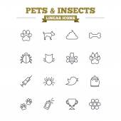 Pets and Insects linear icons — Stock Vector