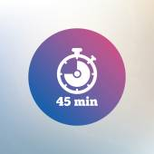 Timer sign icon. 45 minutes — Stock Vector
