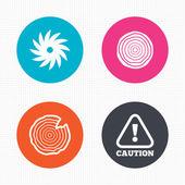 Wood and saw circular wheel icons. — Stock Vector
