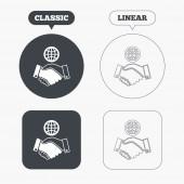 World handshake sign icons — Stock Vector
