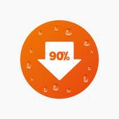 El 90 por ciento venta arrow — Vector de stock