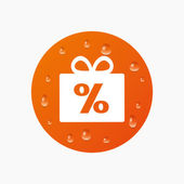 Gift box sign discount icon. — Stock Vector