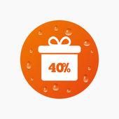 40 percent sale gift box — Stock Vector