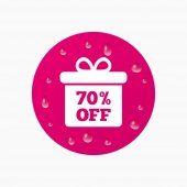 70 percent sale gift box — Stock Vector