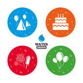 Birthday party. Cake, balloon, hat — Stock Vector