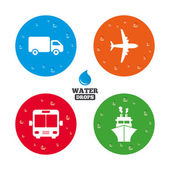Transport icons. Truck, Airplane,   and Ship. — Cтоковый вектор