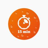Icono de la señal del temporizador. 15 minutos — Vector de stock