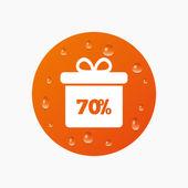 Doos van de gift van de verkoop van 70 procent — Stockvector