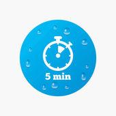 Timer-Schild-Symbol. 5 Minuten — Stockvektor