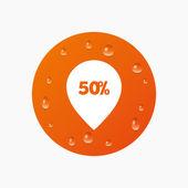 50 procent verkoop aanwijzer — Stockvector