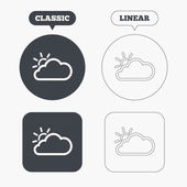 Cloud and sun sign icons — Stock Vector