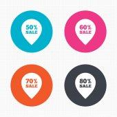 Icone di vendita puntatore tag. — Vettoriale Stock