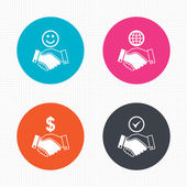 Handshake icons. World, Smile   face. — Stock Vector