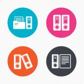 Accounting icons. Document storage in folders. — Stock Vector