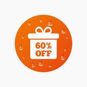 60 percent sale gift box — Stock Vector